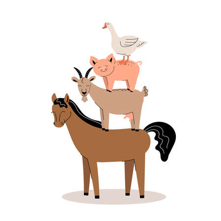 Farm animals on a white background. Collection of cartoon cute baby animals and birds. goat, horse, pig, goose.