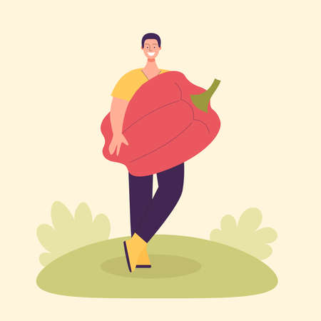 Adult male farmer with big paprika peppers. Harvesting concept, vegetarianism, healthy food, farm products, vitamins. Fair with village products. Flat cartoon illustration isolated on light background