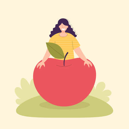 Adult woman farmer with a large pumpkin. Harvesting concept, vegetarianism, healthy food, farm products, vitamins. Fair with village products. Flat cartoon illustration isolated on light background Vettoriali