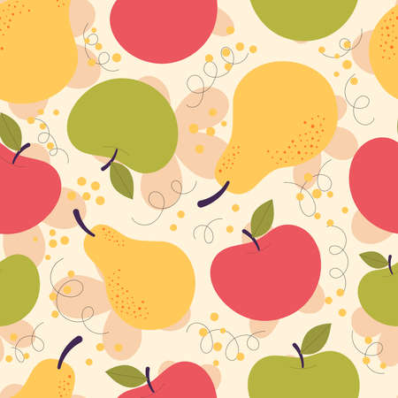 Vector seamless pattern with cute red and yellow pears. Autumn harvest, vegetarian, vitamins, fruits, fruit juice. Hand drawn flat illustration