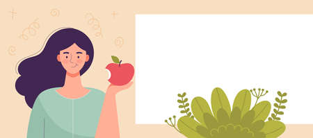 Young woman holding apple in hand. Diet food, healthy lifestyle, vegetarian food, raw food diet. Student snack.Template,space for text,banner for web site. Flat cartoon vector illustration. Vecteurs