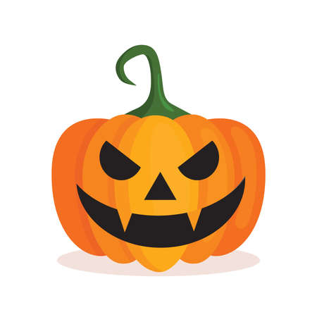 Orange pumpkin lantern with a scary face for Halloween. Festive decoration. Cartoon isolated vector illustration on white background