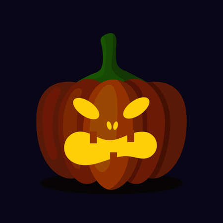 Orange pumpkin lantern with a scary face for Halloween. Festive decoration. Cartoon vector illustration on dark background