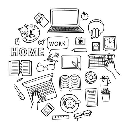 Set of cute vector hand drawn doodle elements. Work from home concept, distance learning, coronavirus epidemic prevention. Objects isolated on white background