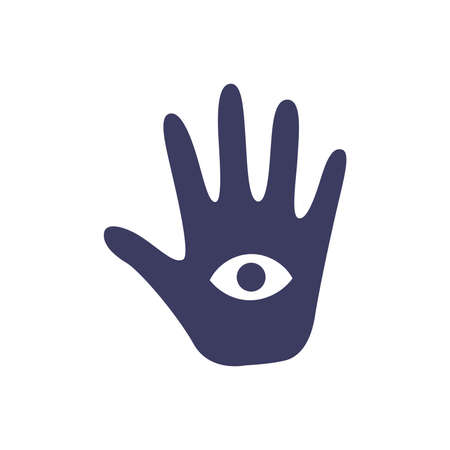 Magic occult hand of divination with an eye on a white background. Attributes for magic and witchcraft. Hand drawn vector isolated single illustration. Illusztráció
