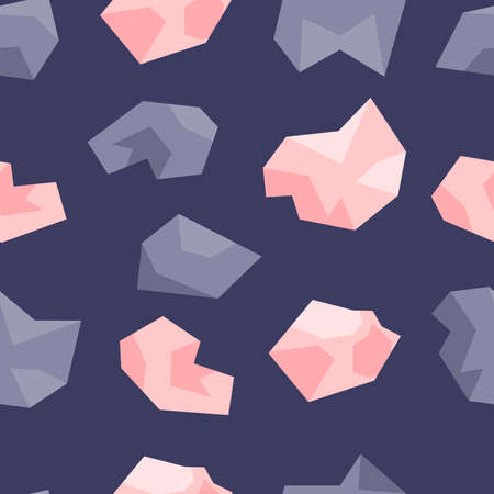 Seamless pattern of pink and lilac crystals. Gems, diamonds, gems on a dark blue background. Hand drawn vector illustration