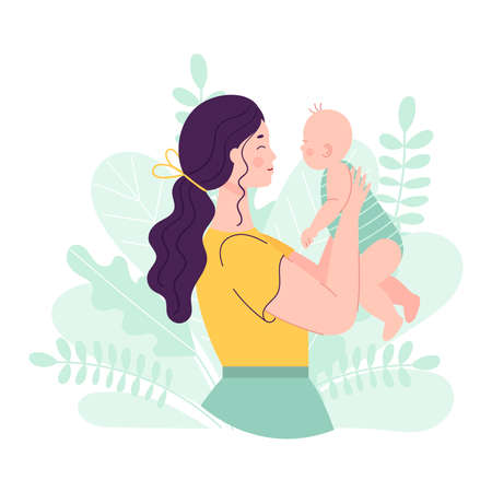 Beautiful young woman holding a baby. The concept of happy motherhood, family, love. Vector illustration in flat style on floral background.