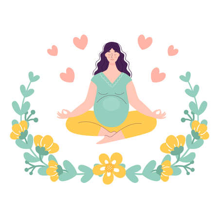 Beautiful young pregnant woman in lotus position. Yoga and sports concept for pregnant women. Vector illustration in a flat style on a white background in a floral frame.