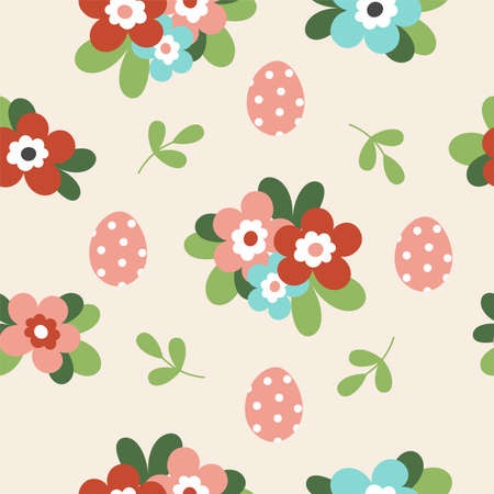 Seamless pattern with cute Easter decorated eggs. Traditional symbol of Easter. Illustration in simple flat hand style