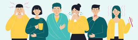 A set of sick people. Virus, headache, fever, cough, runny nose. The concept of viral diseases and colds. Illustration in flat style