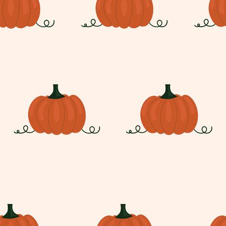 Cute simple seamless pattern with pumpkins. Illustration Harvesting, vegetables, healthy plant food, vegetarian, farm product. Packaging design, scrapbooking paper