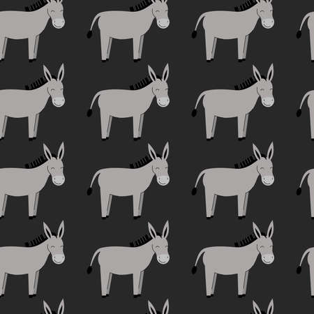Seamless pattern with cute gray donkeys. Background with farm animals. Wallpaper, packaging. Flat vector illustration