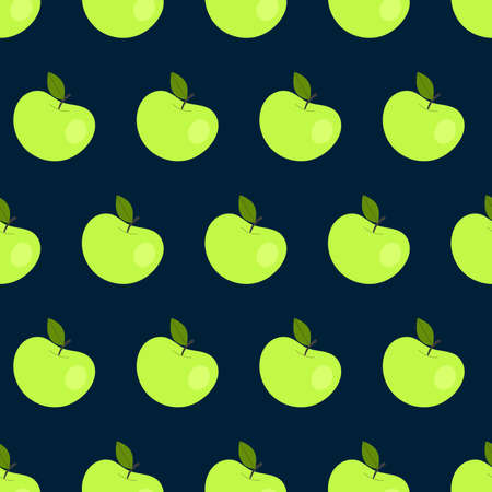 Simple seamless pattern with green apples. Fruits, vitamins, vegetarianism, healthy eating, diet, snacking, harvesting. Illustration in flat style