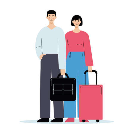 Traveling couple of young people. Man and woman with luggage in the airport. Vector illustration in flat style