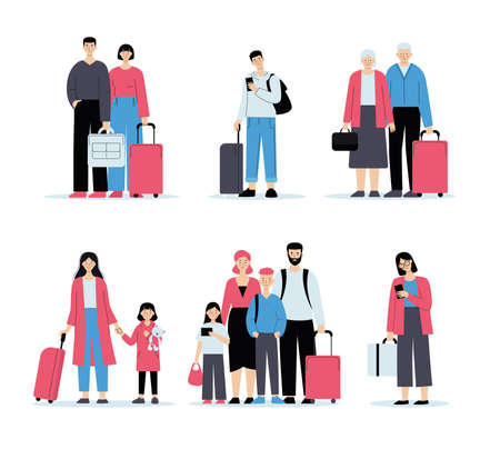 People at the airport with baggage. Check-in queue, family travel, business travel. Vector illustration in flat style isolated on white background