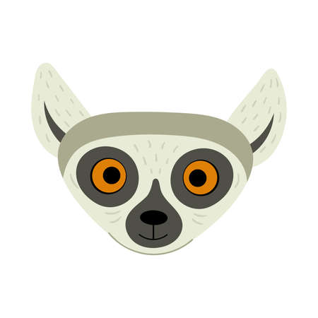 Exotic cute lemur. Animals of Madagascar and Africa. Vector kids illustration in flat style