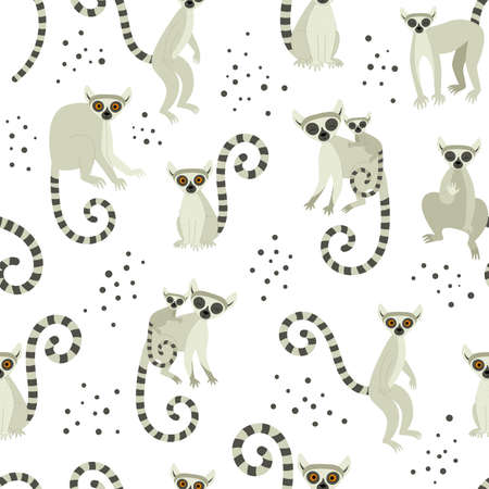 Seamless pattern with heads of lemurs. Exotic cute animals of madagascar and africa. Vector illustration in flat style