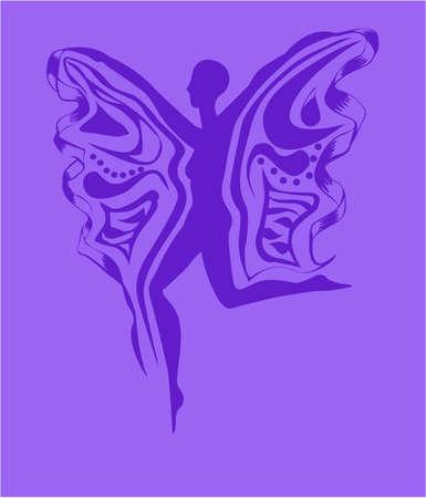 Flitting woman purple on a light purple background Illusztráció