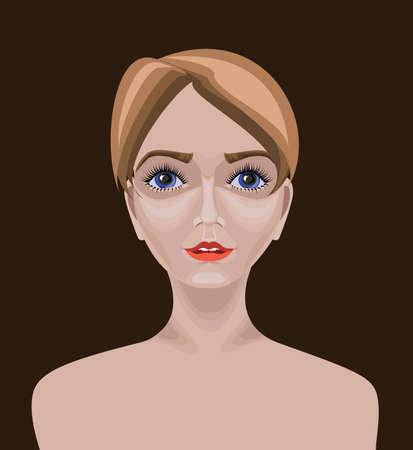 straight path: Caucasian girl with short straight hair
