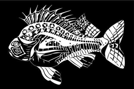 Carp white on a black background Illusztráció