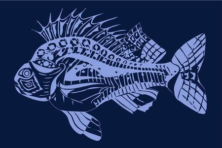 Carp fish blue on a dark blue background Illusztráció