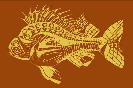Carp fish yellow on a beige background Illusztráció