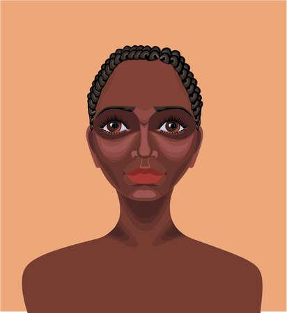 ojos cafes: Hermosa ni�a africana negro con el pelo corto y rizado, ojos marrones y aspecto serio dibujado con la herramienta de ruta