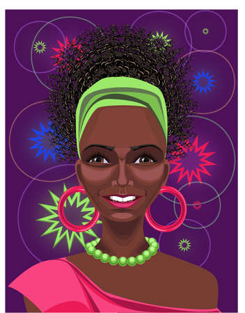 Beautiful black African disco-girl with curly hair, brown eyes, pink earrings  and smiling happy appearance  Drawn with path tool