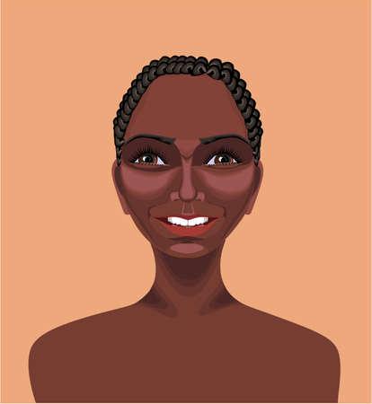 ojos cafes: Hermosa ni�a africana negro con el pelo corto y rizado, ojos marrones y apariencia feliz dibujado con la herramienta de ruta