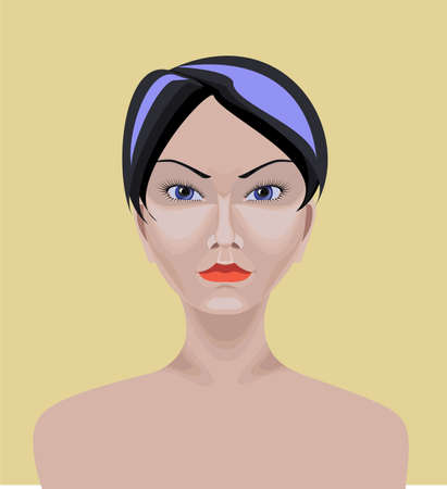 Beautiful white Asian girl with short straight black hair,  blue eyes and serious appearance  Drawn with path tool Ilustracja