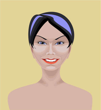 Beautiful white Asian girl with short straight black hair,  blue eyes and happy appearance  Drawn with path tool