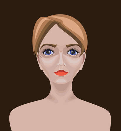 Beautiful white Caucasian girl with short straight hair,  blue eyes and serious appearance  Drawn with path tool