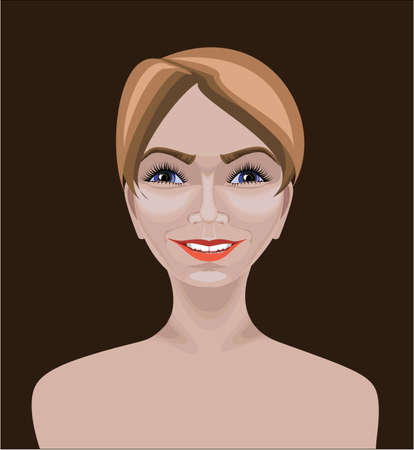 Beautiful white Caucasian girl with short straight hair,  blue eyes and happy appearance  Drawn with path tool
