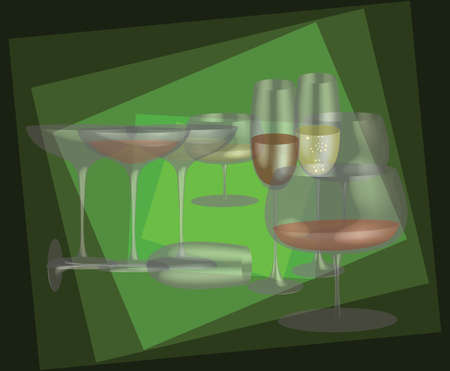 Different stemware on a green background   Vector