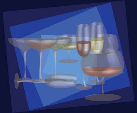 Different stemware on a blue background