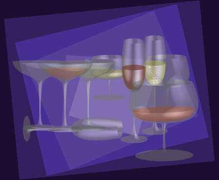 Different stemware on a purple background   Ilustracja
