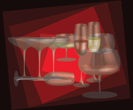 Different stemware on a red background   Ilustracja