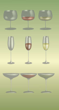 Different stemware on a light green background
