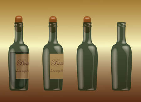 Collection of vine bottles with red vine and cork, without wine but with cork and empty bottle   Ilustracja