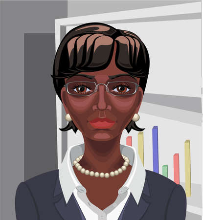 Beautiful black African business woman with short wavy hair,  brown eyes and serious appearance Vector