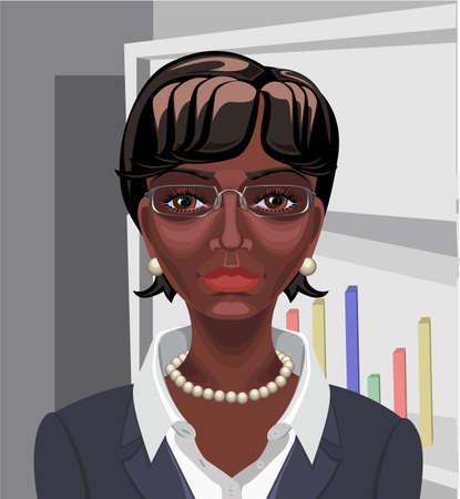 ojos cafes: Hermosa mujer de negocios negro africano con el pelo ondulado corto, ojos marrones y aspecto serio Vectores