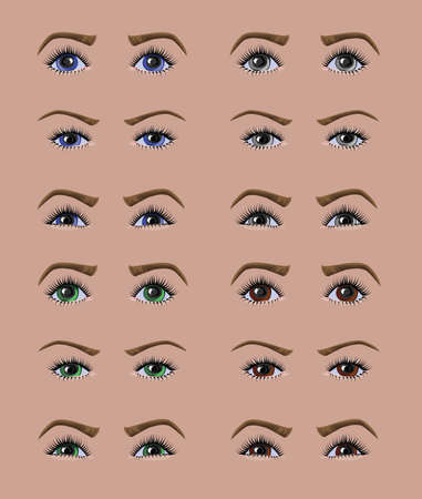 Beautiful differently colored Caucasian woman eyes with different emotions