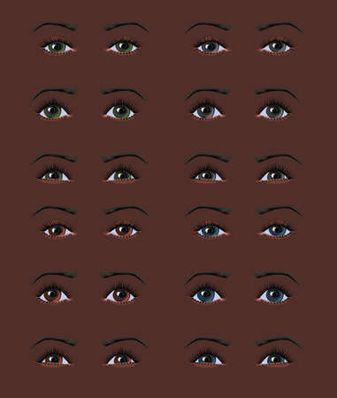 Beautiful differently colored African woman eyes with different emotions  Drawn with path tool Ilustracja