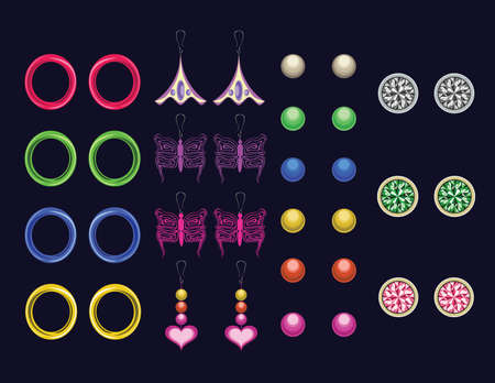 A  beautiful collection of different earrings on a dark blue background