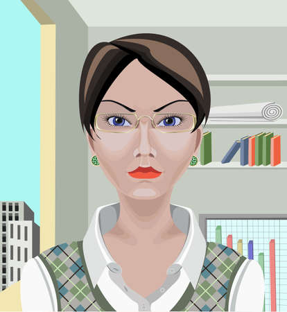 Beautiful white Asian business woman with short black hair,  blue eyes and serious appearance  Drawn with path tool