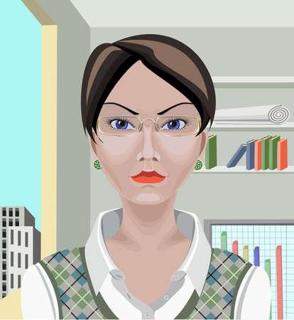 femme d affaire asiatique: Belle blanc femme d'affaires asiatique avec des cheveux noirs courts, yeux bleus et l'apparence s�rieuse Dessin� avec l'outil de chemin