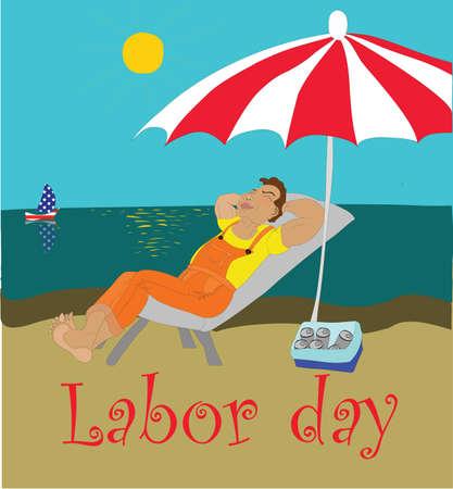 the working day: Un trabajador feliz sueño descansando en la orilla del mar en el Día del Trabajo