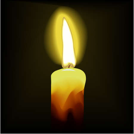 A beautiful vector burning candle on a black background