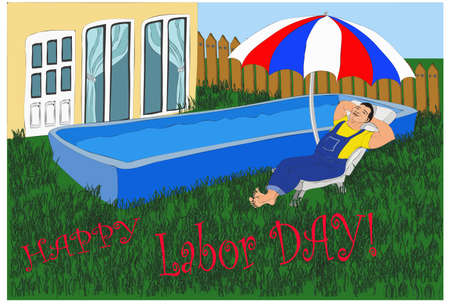 Relaxing happy worker asleep in deck chair near his swimming pool and his house under the parasol on a labor day Ilustracja