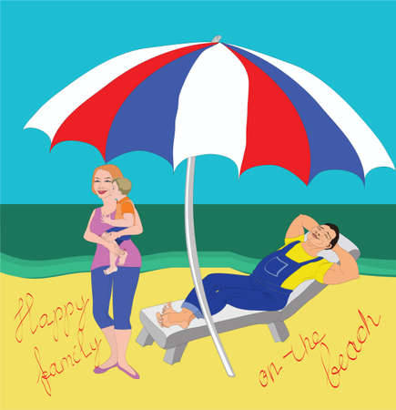 Relaxing happy worker asleep in deck chair near his wife, his son and the sea under the parasol on the beach Ilustracja
